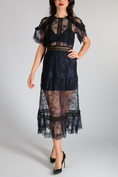 FRILL SHOULDER FINE LACE Dress