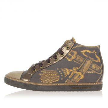 Foulard Print Leather Sneakers