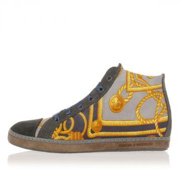 Sneakers in Pelle con Stampa Foulard