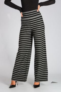 Virgin Wool Knitted Striped Pants