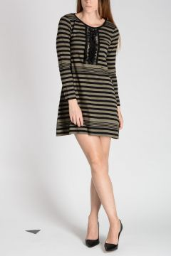 Striped Sweater Dress with Frills