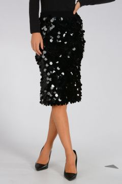 Virgin Wool Sequins Skirt