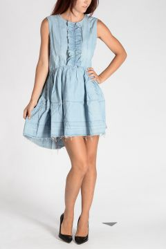 Cotton Blouson Dress with Frills