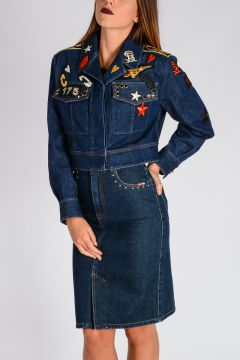 Embroidered Patches Cropped Denim Jacket