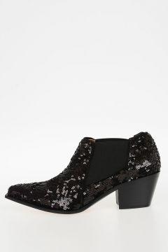 Stivali in Pelle con Paillettes 5 cm