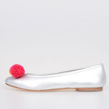 Leather BO POM POM BALLET Ballet Flat