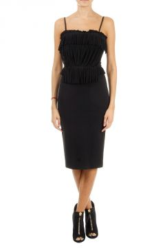 Cotton blended pencil dress plissé details