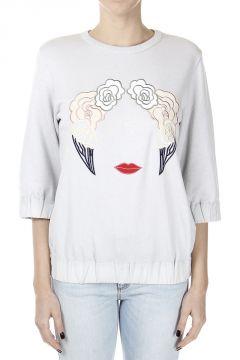 3/4 Sleeves Sweatshirt with Embroidery