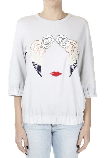 3/4 Sleeves Sweatshirt with Embroidery