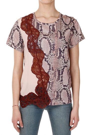 T-Shirt in Cotone e Seta con Stampa Rettile