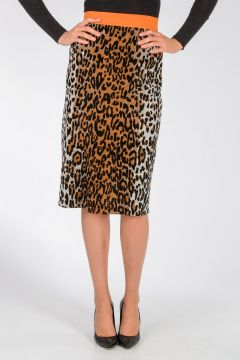 Knitted Leo Printed Skirt
