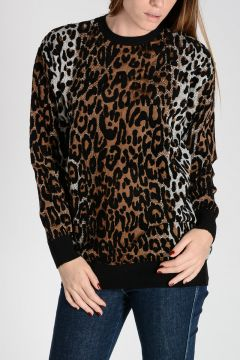 Leopard Print Brocade Sweater