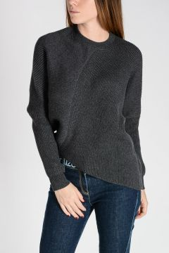 Virgin Wool Asymmetrical Hem Sweater