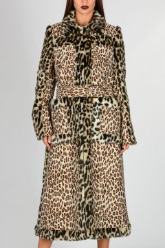 Faux Fur Leopard Print Wool Blend Jacquard Coat