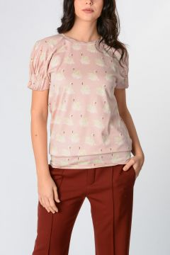 Cotton Jersey Swan Print T-shirt