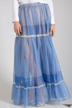 Mixed Silk Long Skirt
