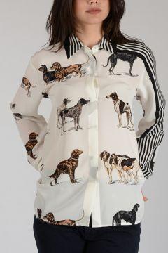 Dog Printed Silk Blouse