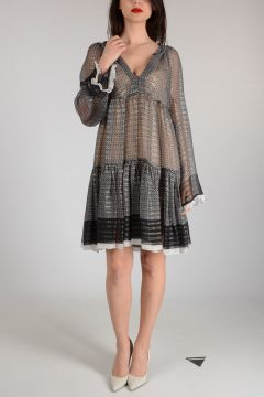 Mixed Silk Dress with Frill