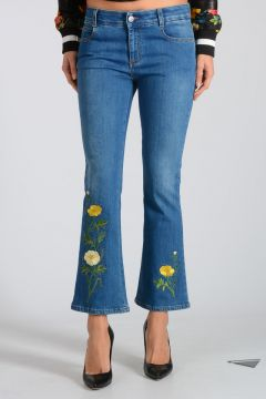 21 cm Stretch Denim Jeans with Embroideries