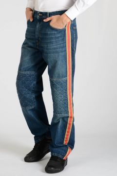 22cm Denim Jeans with Lateral Stripes