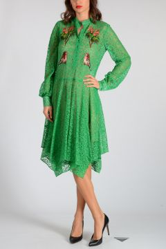 Small Bird Embroidered Lace Dress