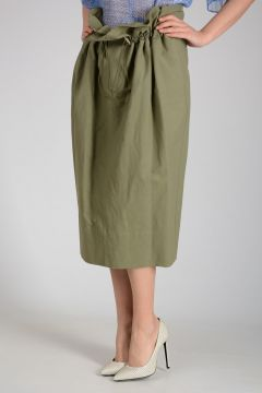 Mixed Linen Nylon and Cotton Long Skirt