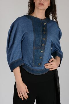 Cotton sweater with Denim Details