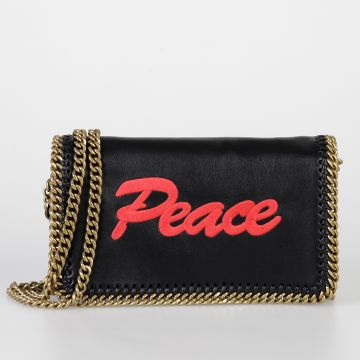Shoulder clutch PEACE  with Gold Tone Chain