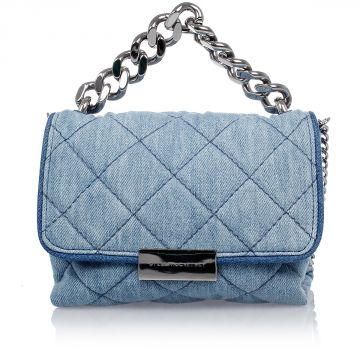 Mini Quilted Shoulder Bag in Denim