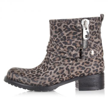 Leather Ankle Boots with Animalier Print
