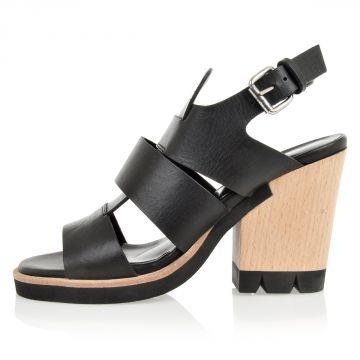 Sandali con tacco in pelle
