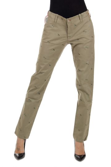 Pantaloni Stampa Amo in Gabardina