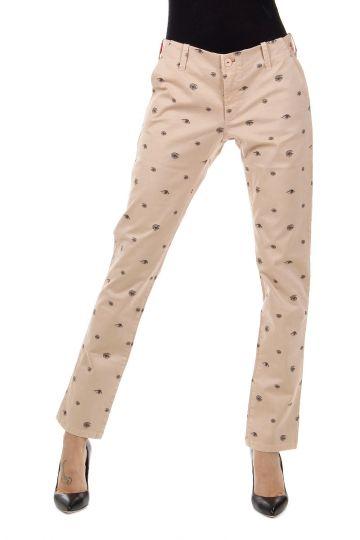 Pantaloni Stampa Occhi in Gabardina