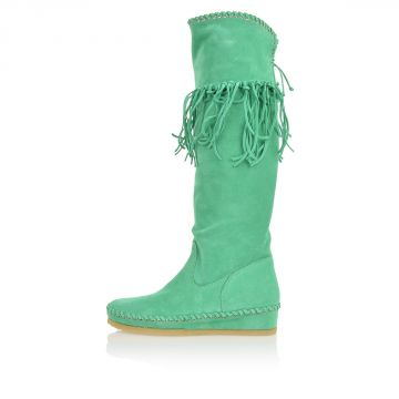 Suede Boots with Fringes MINT
