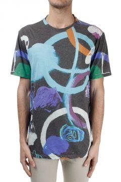 T-shirt misto cotone con Stampa Astratta