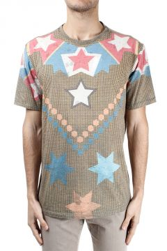 T-shirt misto cotone con Stampa Stelle