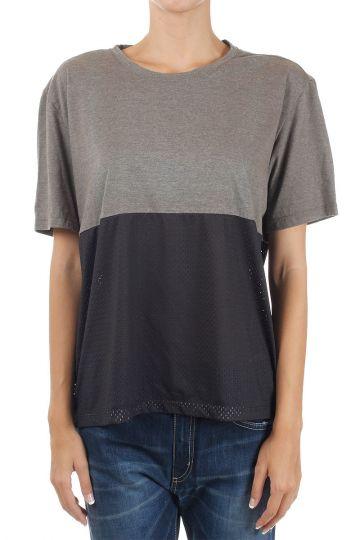 T-shirt con Dettagli in Tessuto Traforato