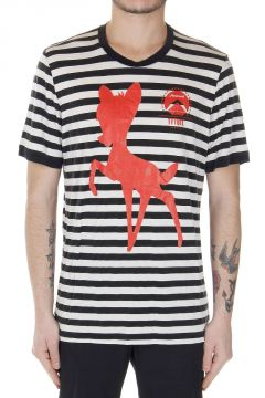 T-Shirt Stretch a Righe con Stampa Bambi