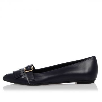 Leather Ballet Flat shoes with Fringes