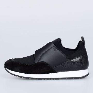 Leather and Fabric Slip on sneakers