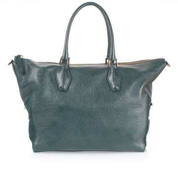 Leather Shoulder Bag with suede leather details