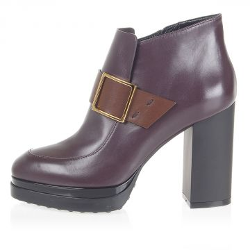 Leather heeled ankle boots with square buckle
