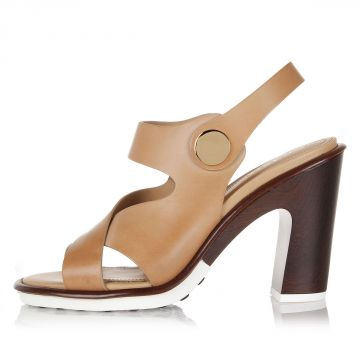 Leather Sandal with Button with Heel 10.5 cm