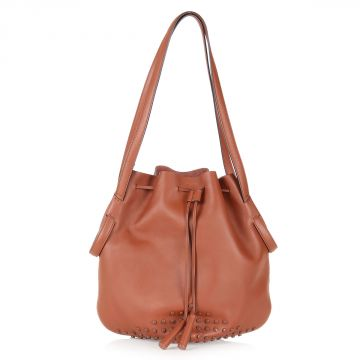 Leather AMI Bucket Bag with Pochette