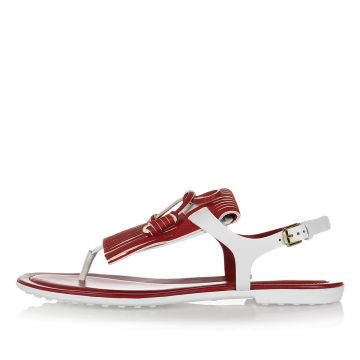 Leather Flip Flop Sandal with Fringes