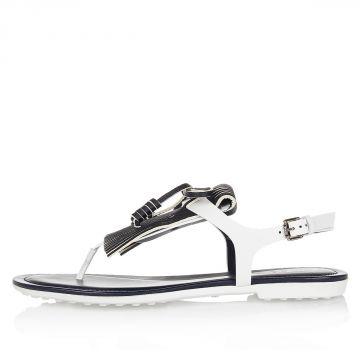 Sandalo Infradito in Pelle con Frange