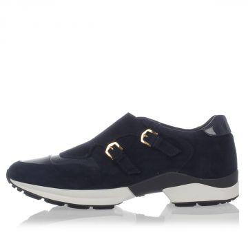 Sneakers in Pelle Scamosciata con Fibbie