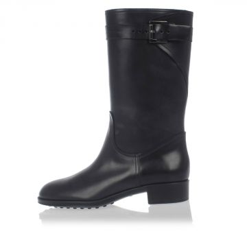 Brushed Leather Biker Boots