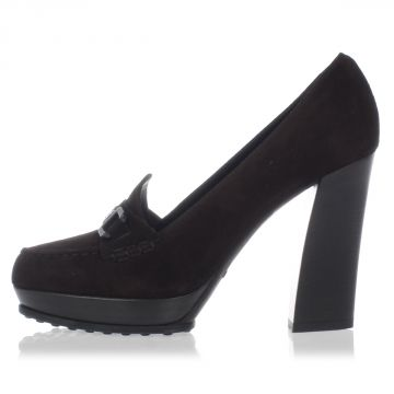 Suede Heeled Loafer 11 cm