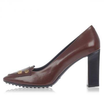 Brushed Leather Heeled Shoes 9.5 cm